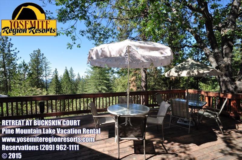 Back deck view, Unit 8 Lot 247 Pine Mountain Lake Vacation Rental Retreat On Buckskin Court - WIFI, Mountain Views, Large Deck, Near Yosemite - Groveland - rentals