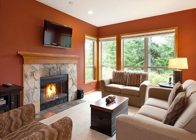 Comfortable Living Room with Presto Log Fireplace and Forested V - Painted Cliff 22 | 2 Bedroom Ski In/Ski Out Townhome with BBQ, Shared Hot Tub - Whistler - rentals