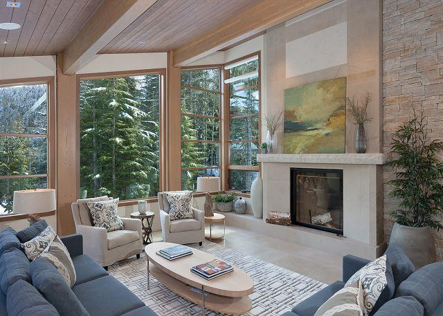 Formal Living Area with Fireplace and Scenic Views - Kadenwood #2963 | Whistler Platinum | 5 Star Luxury Ski-In Ski-Out Home - Whistler - rentals