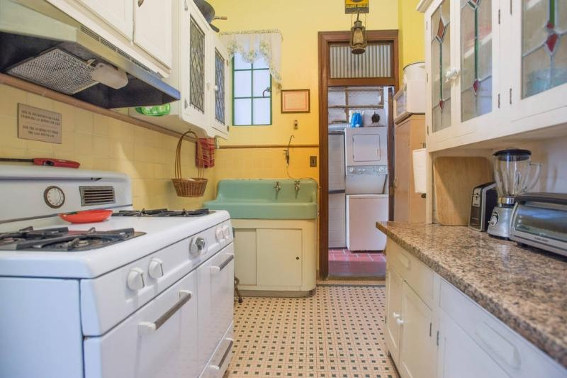 Antique kitchen, with adjoining laundry room. - Historic Apt in Center of Old San Juan 4-NIGHT MIN - San Juan - rentals
