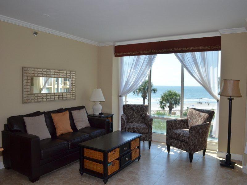 Living Room with Ocean Front Views at 1301 Villamare - 1301 Villamare - Hilton Head - rentals