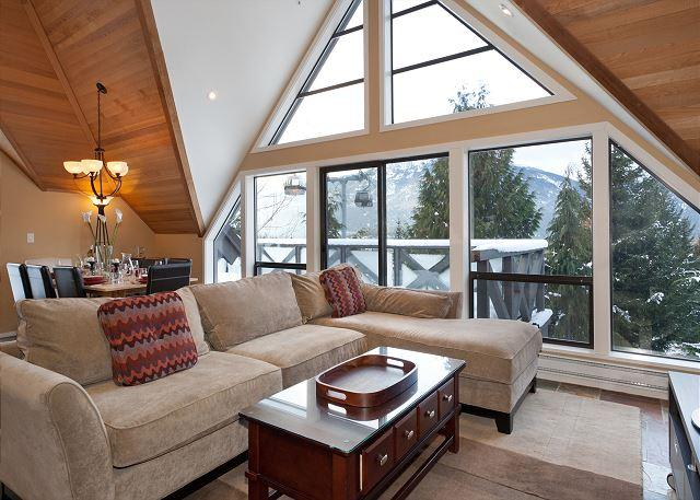 Living Room with Views to Whistler Village - Pinnacle Ridge 20   Whistler Platinum   Ski-In/Ski-Out Home with Hot Tub - Whistler - rentals