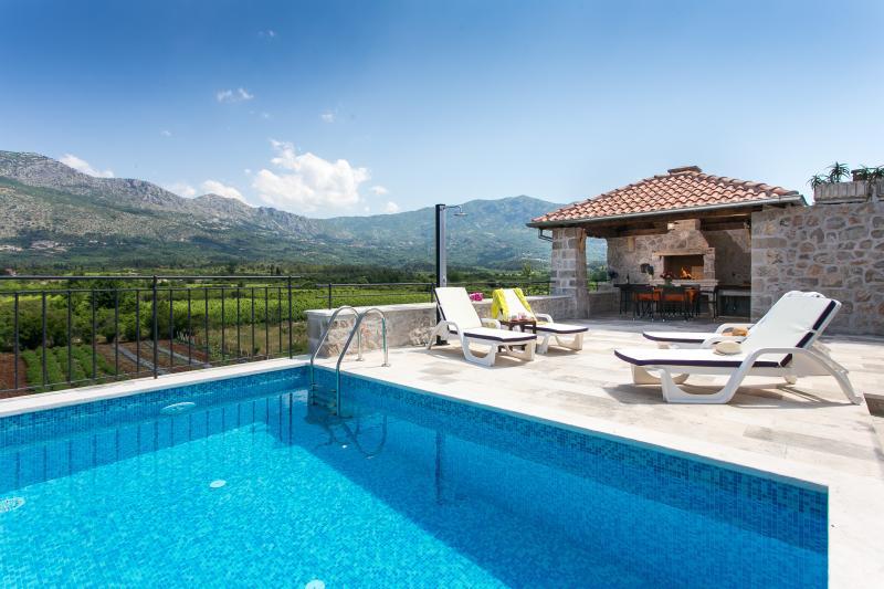 Swimming pool, pergola and terrace - Villa Petrosa - Gruda - rentals