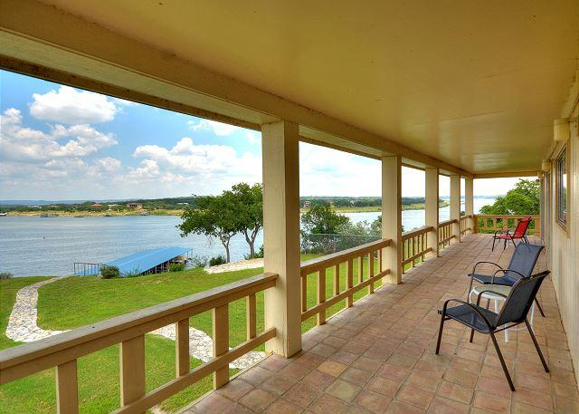 Upstairs Balcony with Lake View - Wonderful Lake Home with Spectacular 180 degree views of Main Lake Travis - Briarcliff - rentals