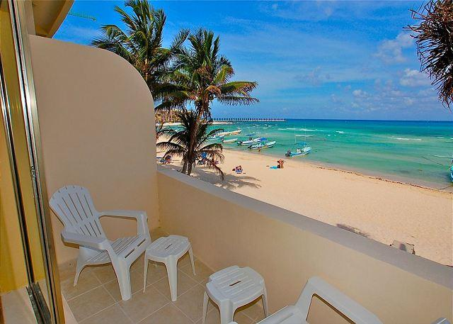 Ocean Plaza 12 terrace - Oceanfront with pool 2 bedroom in Ocean Plaza (OP12) - Playa del Carmen - rentals