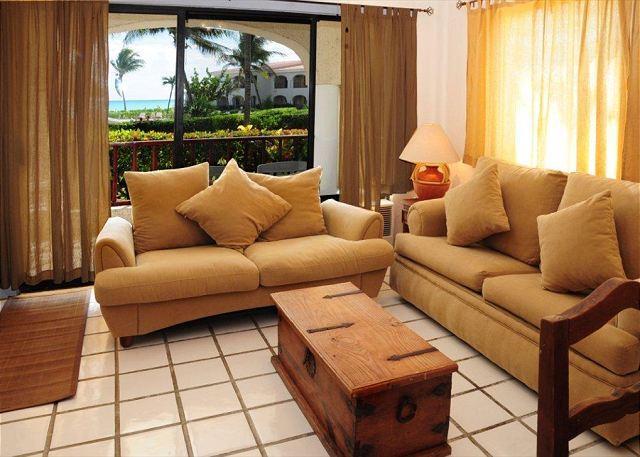 Living Area with Ocean Views - Oceanfront with pool 2 bedroom in Xaman Ha (XH7018) - Playa del Carmen - rentals
