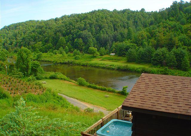 Perched on the hillside, this cabin has great river views. - Romantic Cabin w/Bubbling Hot Tub Near  New River! Lower Summer Rates Avail. - Crumpler - rentals