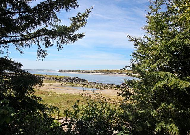 Ocean/bay view from backyard and house. - NEHALEM NIRVANA~Breathtaking views of the Neahlem Bay to NeahKahNie Mountain! - Rockaway Beach - rentals