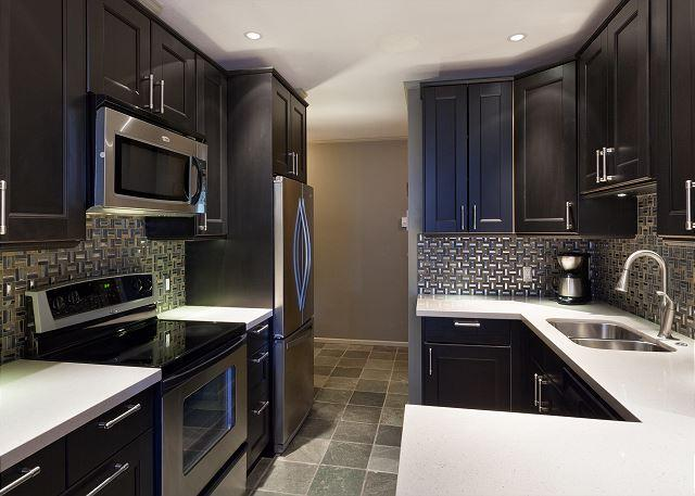 Newly Renovated Modern Kitchen with Wine Fridge - St. Andrews #302 | Spacious 3 Bedroom Condo in Heart of Whistler Village - Whistler - rentals