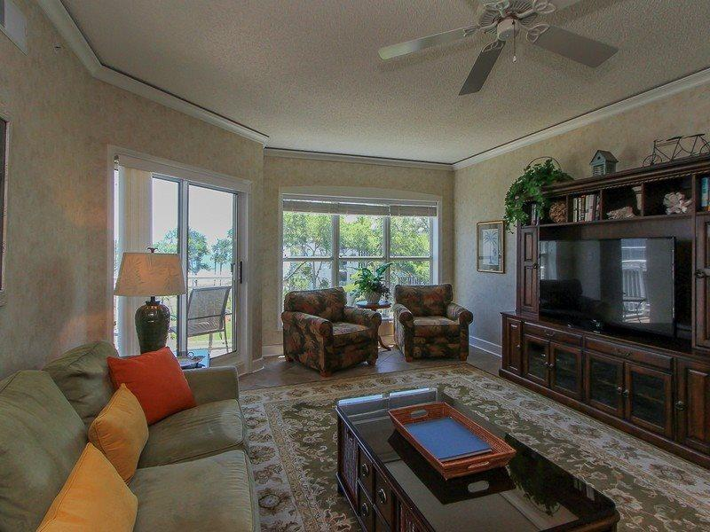 Spacious Living Area at 5403 Hampton Place offers access to the balcony - 5403 Hampton Place - Hilton Head - rentals