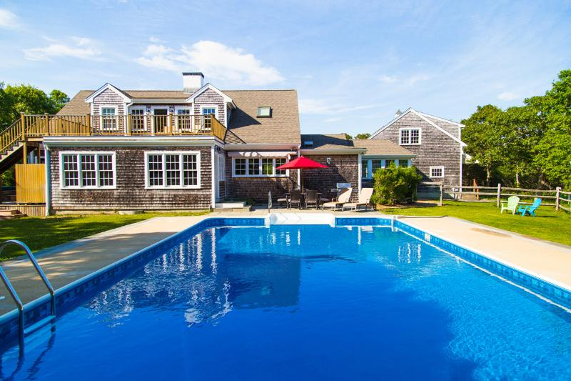 Pool and Patio Side of House - LINEM - Wintucket Cove House, Heated Pool,  Edgartown Great Pond Frontage, Boat to Private S Shore Beach Main and Carriage House - Edgartown - rentals