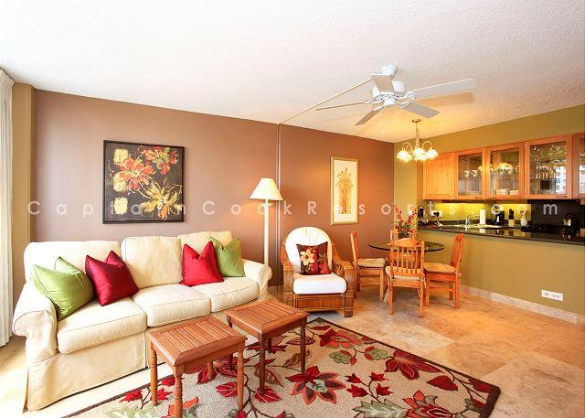 Cozy queen sleeper sofa and large flat screen TV - perfect for l - Family-Friendly 2 Bedroom 2 Bath - Pool, Parking, Wifi - Short Walk to Beach - Waikiki - rentals