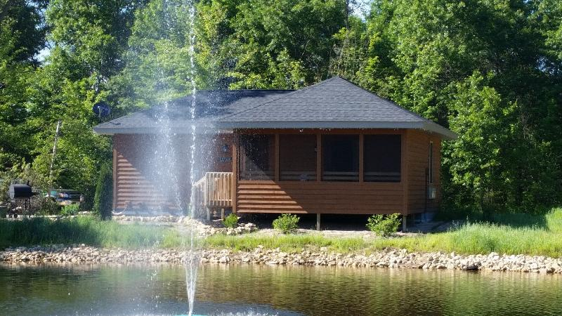 Fountain in Dovey Pond adds ambiance and a little spray if the wind is in your favor. - The Luxe on Dovey Pond - Fireplace in bedroom! - New Lisbon - rentals