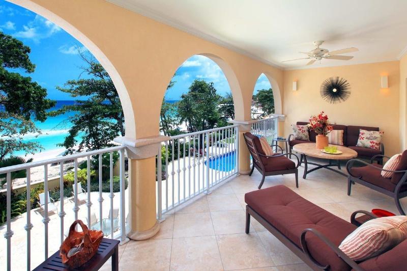 SAPPHIRE BEACH 209 PATIO.jpg - Sapphire Beach 209 - Stylish and Well Appointed - Christ Church - rentals