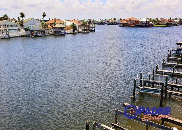 Water view from balcony - Padre Island Getaway is a Canal front Condo with Boat Slip and Great Views! - Corpus Christi - rentals