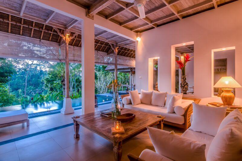The villa at dusk - Secluded Escape for a Couple with Spectacular Panoramic Views - Ubud - rentals