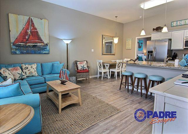 Spacious 1st floor kitchen, living, and dining area that is great for time with family and friends - Beautiful All-New 4/3 with a view of the Gulf & Steps from the Beach! - Corpus Christi - rentals