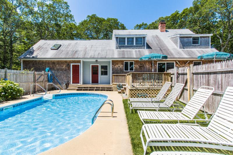 Pool, Patio, Deck, 4ft Pool - DRAPM - Mink Meadows Family Compound, Private Pool,  Ferry Tickets July Weeks, Walk or Drive to Private Association Beach, Beautifully Landscaped Yard,  Deck and Patio,  Golf 1 Mile from House - Vineyard Haven - rentals