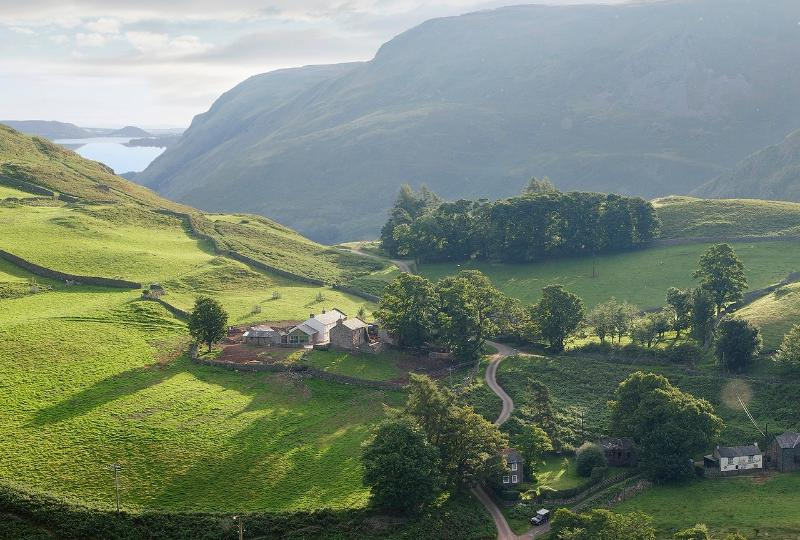 Hause Hall Farm at the base of Hallin Fell with Lake Ullswater just below down the Hause - Hause Hall - Lake District National Park - Howtown - rentals