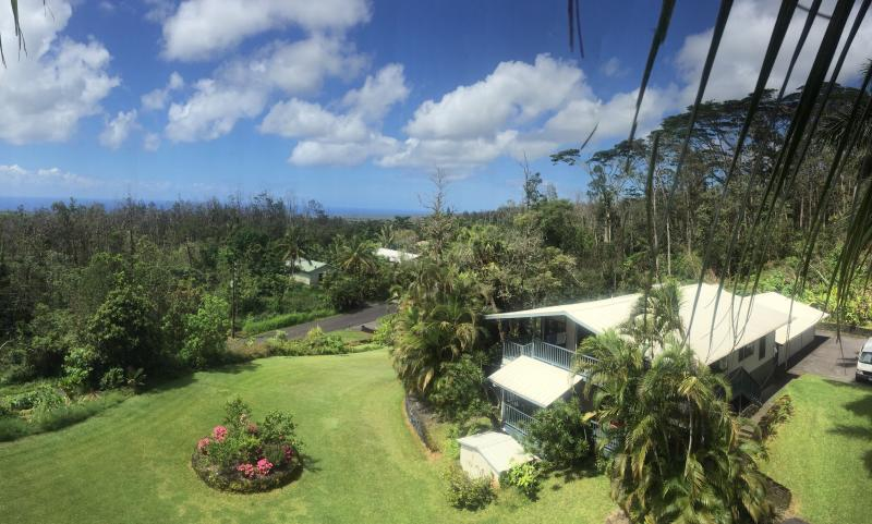 View of our property from high up on a coconut tree. - Breathe in Beauty, Peace and Light - Pahoa - rentals