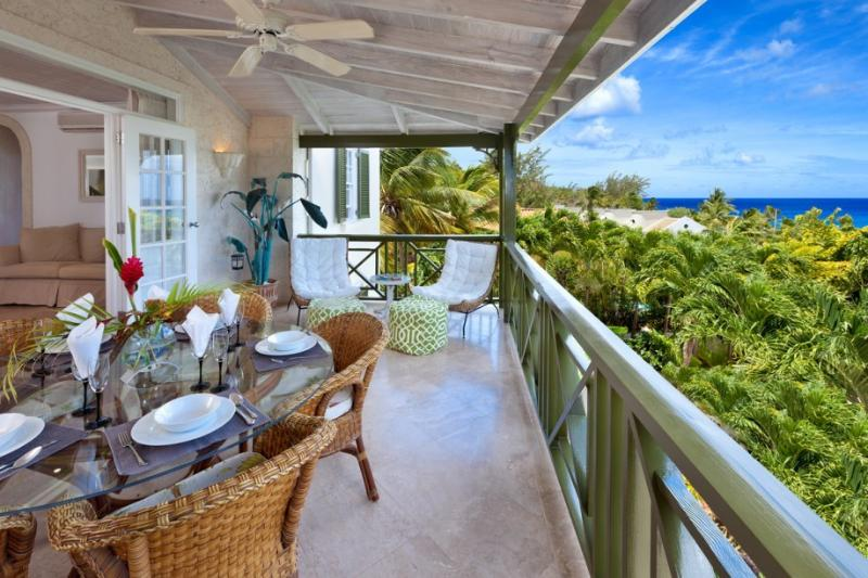 Terrace for dining with beautiful sunset views - 3bdrm penthouse, pool, opp Mullins Beach, seaviews - Saint Peter - rentals