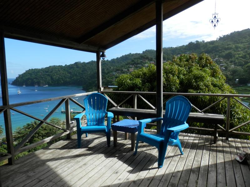 The deck and the blue Caribbean Sea - Bella Vista Cottage,  Tobago - Charlotteville - rentals