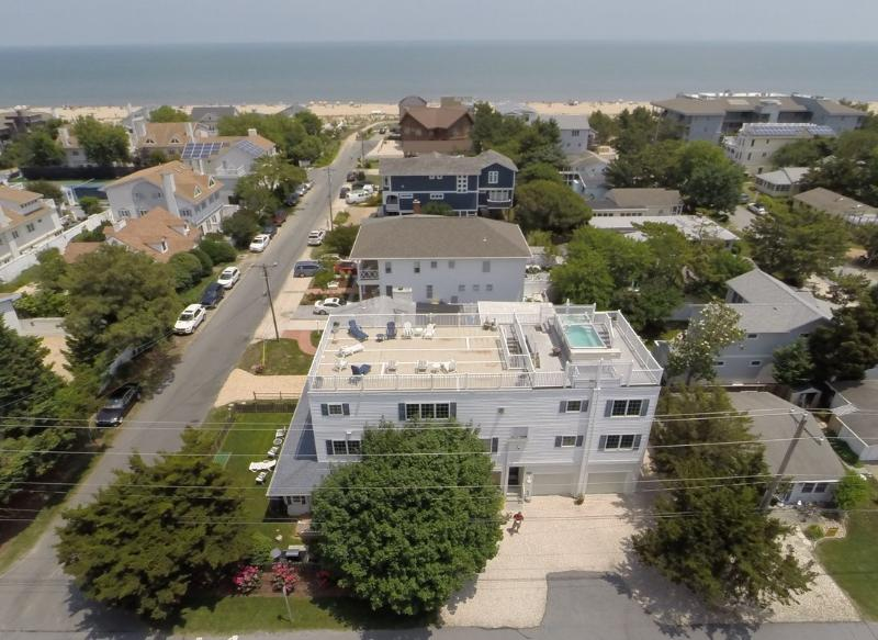 Aerial view of the Memories Home on Chicago Street-OCEAN BLOCK!! - Memories Beach Home on the Ocean Block with Rooftop Deck, Heated Pool & Hot Tub - Rehoboth Beach - rentals