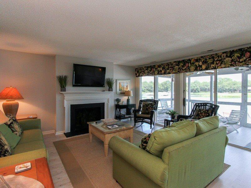 Living Room with Flat Screen at 16 Lands End Court - 16 Lands End Court - Hilton Head - rentals