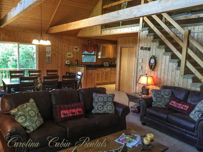 Main Living Area - New Leather Couches - Mountain Top Cabin - Seven Devils - rentals