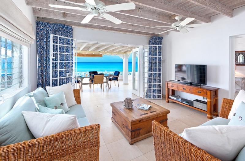 Living room for watching TV yet still having an ocean view - Romantic Mullins beach house, uninterrupted views - Saint Peter - rentals