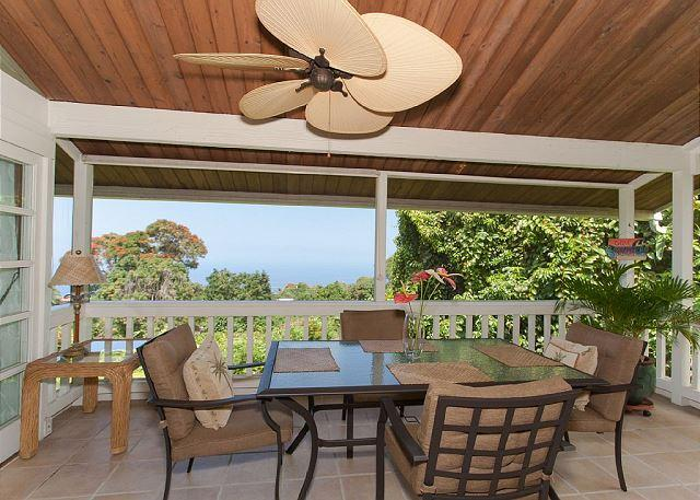 Screened in lanai that wraps around the kitchen with great views - Breathtaking Secluded Ocean View House- Orchid Inn - Holualoa - rentals