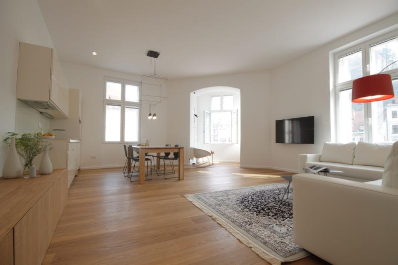 The main living area combines living room, dining room and kitchen and is welcoming and bright. - 2-Bedroom Novi Trg - Fine Ljubljana Apartments - Ljubljana - rentals