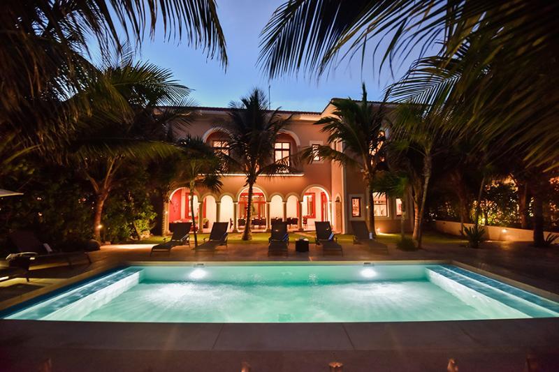 Hacienda Corazon Villa Exterior Beachside At Night - Hacienda Corazon Beach Front 5-10 BR Amazing Villa - Puerto Aventuras - rentals
