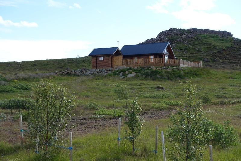 Seen from the gate - Cedar Log Cabin, 4 bed, Golden Circle, Iceland - Selfoss - rentals