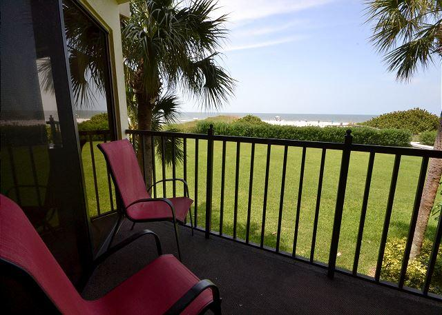 Gulf Front Balcony with Seating - Lands End 6-203 - Upgraded 2 BR Gulf Front Condo with New Kitchen and Baths! - Treasure Island - rentals