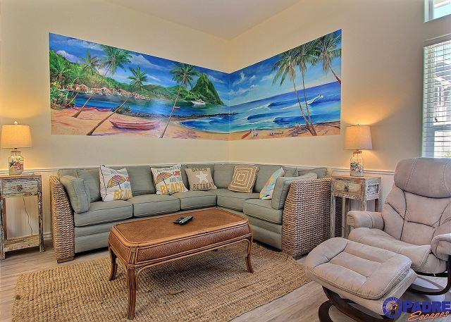 Comfy living area with coastal decor - Beautiful New 4 Bedroom Townhouse at the exclusive Padre Beach View complex - Corpus Christi - rentals