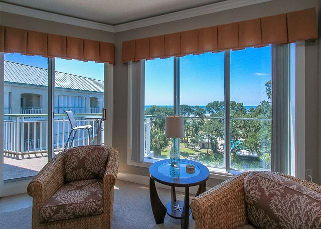 Living Area View - 503 Windsor Place-5th Floor Oceanfront & FULLY renovated. - Hilton Head - rentals