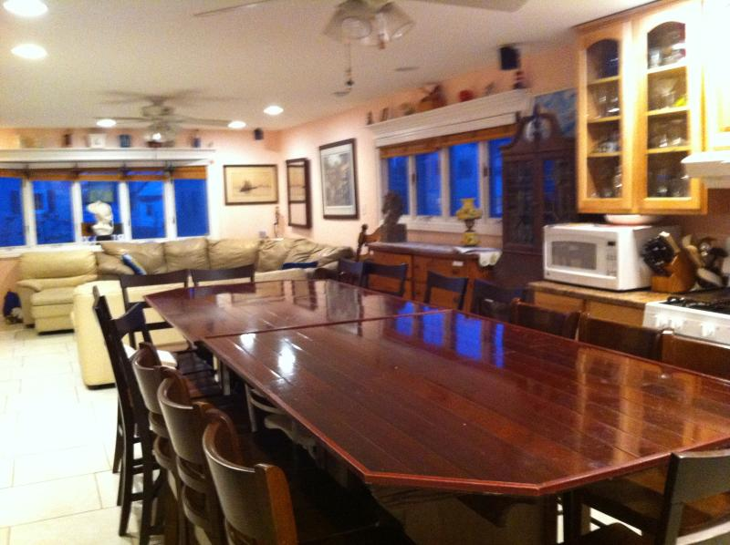 Kitchen Dining with Family is a Snap with our large family table. Extra pantry shelves under bar. - Awesome Views,Weddings,Retreats,House,Sleeps 8-19 - Long Beach Island - rentals