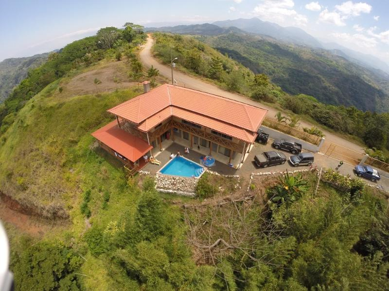 birdseye view towards the east - Spacious Private Mountain top Home  w waterfalls - Jaco - rentals