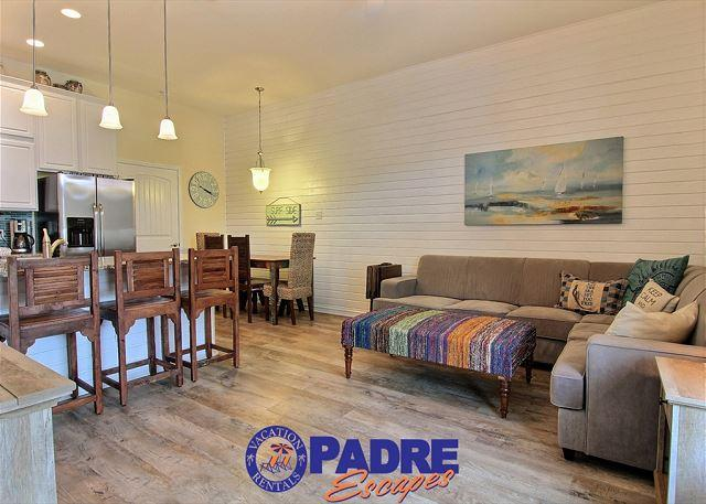 Open and spacious kitchen, living and dining area - Ocean Views! 4/3 New Townhome w/1000sf Private Patio & Outdoor Shower - Corpus Christi - rentals