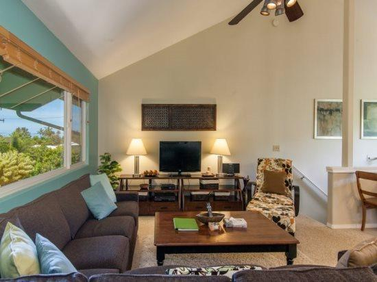 Living Room - Hale Momo-Beautiful 4 bedroom home just ONE block from world-famous Poipu Beach - Poipu - rentals