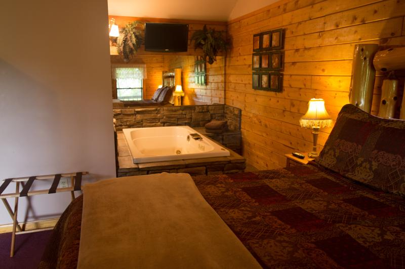 King bed and Jacuzzi for 2. - Enchanted Forest Resort: Secluded Mountain Top Cabin 1 - Eureka Springs - rentals