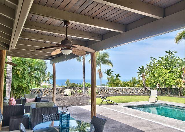 Covered Lanai, Private Pool and Ocean Views! - AC Included, Island Home in Gated Community with Pool & Ocean Views! - Kailua-Kona - rentals