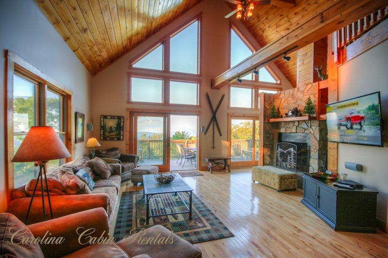 Living Room featuring Wall of Windows  - Pinecone Manor - Beech Mountain - rentals