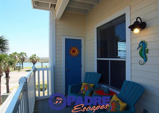 Private balcony with a view of Lake Padre - Vitamin Sea is a recently renovated 1 bedroom/1 bath condo at the Beach Club - Corpus Christi - rentals