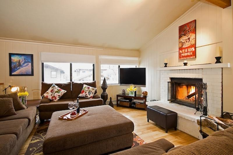 spacious seating for a dozen or more with big screen and warm fireplace. - North Lake Tahoe steps from the water with Lake Views - Carnelian Bay - rentals