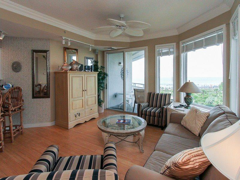 Living Room with Balcony Access at 2506 Sea Crest - 2506 Sea Crest - Hilton Head - rentals