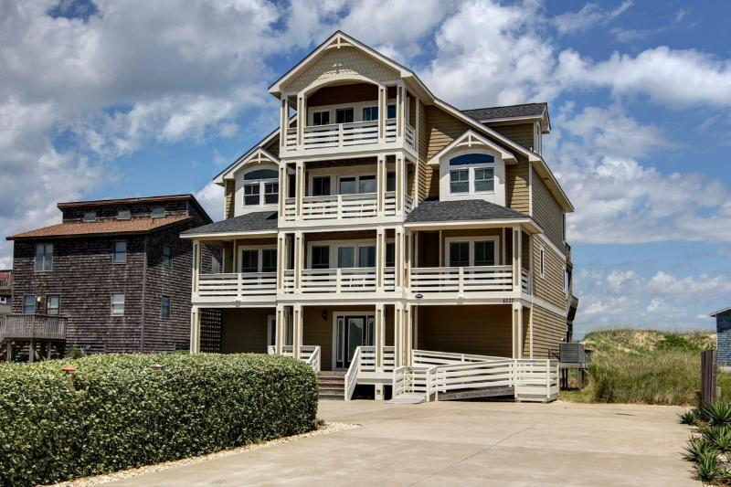 Suits Us exterior - Ample private driveway parking - Suits Us 8 BR/8 BA, Oceanfront, home theater, pool - Nags Head - rentals