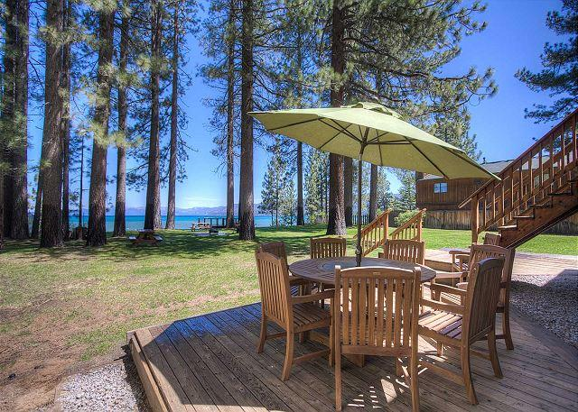 Lakefront home with expansive lawn that leads to pier and private sandy beach. - Pavati Lakefront - Private Pier, Fireworks View, Boat Buoy, On Beach - South Lake Tahoe - rentals