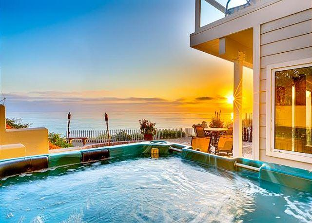 View from the spa overlooking the ocean. - 20% OFF OPEN DEC DATES - Unobstructed Views, Private Spa, Firepit, Pool Table - San Clemente - rentals